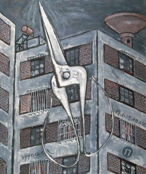 Scissors and Building - Winter by Mao Xuhui contemporary artwork