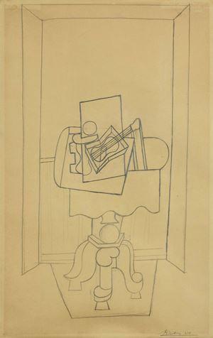 Nature morte sur un guéridon devant une fenêtre ouverte by Pablo Picasso contemporary artwork