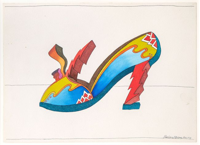 Dark Blue Sole with Red Heel by Barbara Nessim contemporary artwork