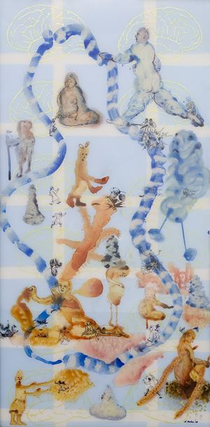 """Stories Retold: Mapping III"""" by Nalini Malani contemporary artwork painting"""