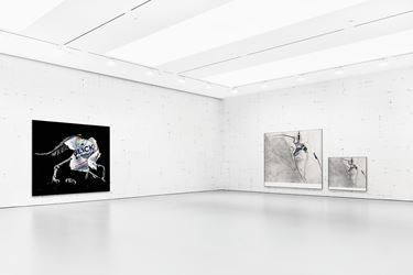 Exhibition view: Michael Riedel, Poster-Painting-Presentation,David Zwirner, New York (27 February–25 March 2016). Courtesy David Zwirner, New York/London.