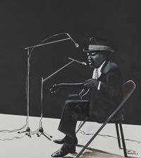John Lee Hooker by Sam Nhlengethwa contemporary artwork mixed media