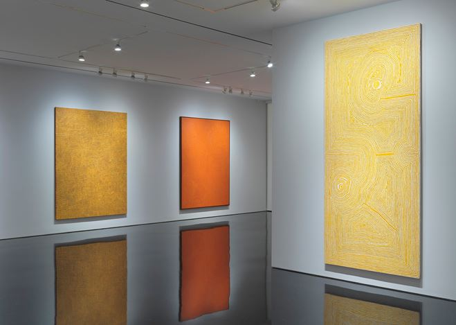 Exhibition view: Group Exhibition, Desert Painters of Australia, Gagosian, 976 Madison Avenue, New York (3 May–3 July 2019). Artworks © Artists and Estates. Courtesy Gagosian. Photo: Rob McKeever.
