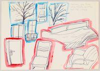 Ordnung von Raumgegenständen in Blau und Rot by Chris Reinecke contemporary artwork painting, works on paper, drawing