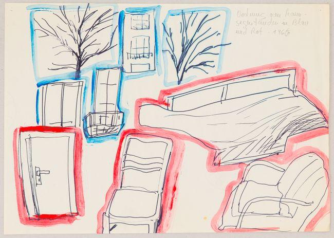 Ordnung von Raumgegenständen in Blau und Rot by Chris Reinecke contemporary artwork