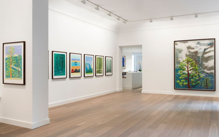 Exhibition view: David Hockney, Solo Exhibition, Galerie Lelong, Paris (20 May–13 July 2017). Courtesy Galerie Lelong.