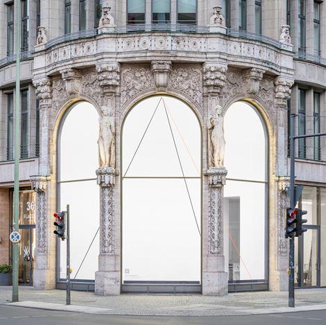 Exhibition view:Fred Sandback, Galerie Thomas Schulte, Berlin (25 July–29 August 2020). Courtesy Galerie Thomas Schulte. Photo:Stefan Haehnel.