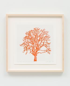 Numbers and Trees: Assorted Trees #6, Orange (Red Shade) Trees, Tree K by Charles Gaines contemporary artwork works on paper