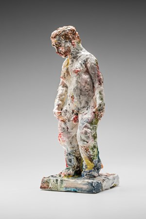 Statue (head down) by Stephen Benwell contemporary artwork