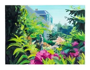 Study for Watering Rhododendrons, late morning, May by Caroline Walker contemporary artwork