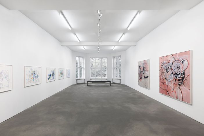 Exhibition view: George Condo, Linear Expression, Sprüth Magers, Berlin (28 April–25 August 2021). © George Condo / Artists Rights Society (ARS), NewYork, 2021. Courtesy the artist and Sprüth Magers. Photo: Ingo Kniest.