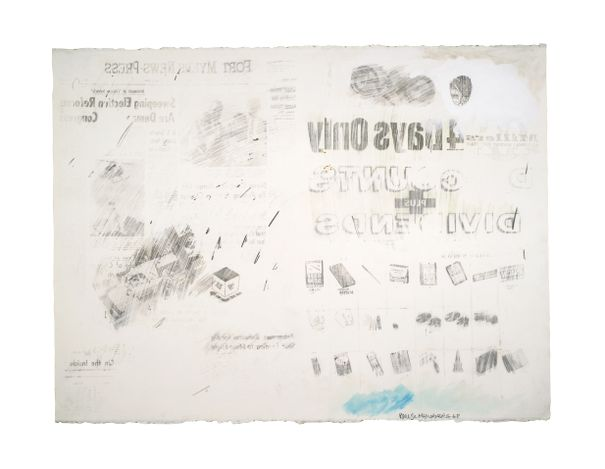 Robert Rauschenberg, Political Folly, (1968). Solvent transfer with gouache and watercolour on paper, 22 1/2 x 30 inches (57.1 x 76.2 cm). Courtesy Offer Waterman.