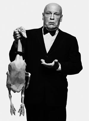 Albert Watson/ Alfred Hitchcock with Goose (1973) by Sandro Miller contemporary artwork