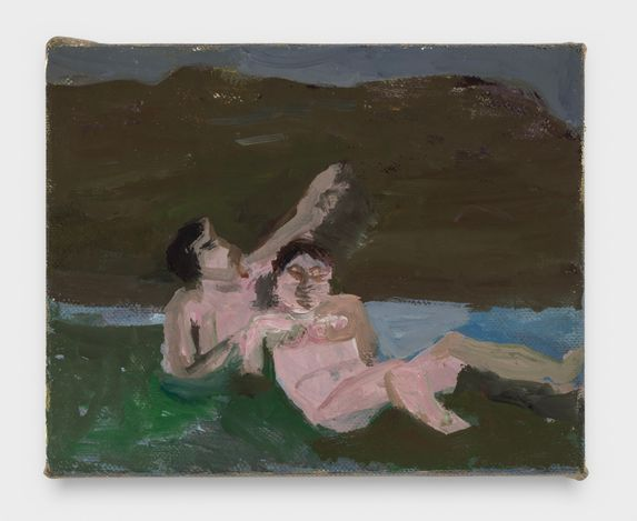 Bathers in a Stream, 2021. Oil on linen, 8 x 10 in.  Courtesy Thomas Erben Gallery.