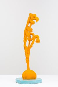 Pot plant gold yellow (Viitadinia scabra after J Banks) by Caroline Rothwell contemporary artwork works on paper, sculpture