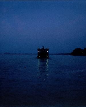 Boat near Belur Math by Soumya Sankar Bose contemporary artwork