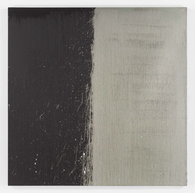 Silver and Black Square by Pat Steir contemporary artwork