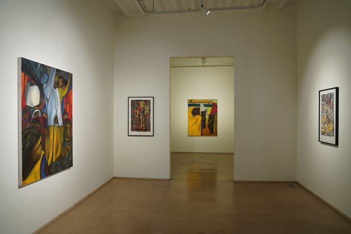 Exhibition view: Aban Raza, Luggage, People and a little space, Galerie Mirchandani + Steinruecke, Mumbai (10 Septemeber–15 October 2020). Courtesy Galerie Mirchandani = Steinruecke.