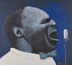 The Blues Singer by Sam Nhlengethwa contemporary artwork