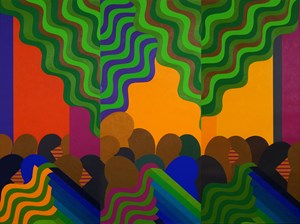 Triptyque by Mohamed Melehi contemporary artwork