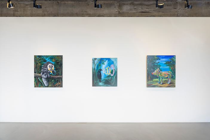 Exhibition view: Djordje Ozbolt, Greetings From A Far Away,Gallery Baton, Seoul (28 November 2019–3 January 2020).Courtesy the artist andGallery Baton. Photo: Jeon Byung Cheol.