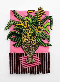 Stripey Pink Arrangement by Jody Paulsen contemporary artwork textile