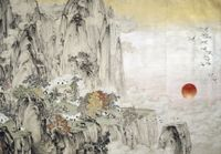 Auspicious Cranes by Zheng Li contemporary artwork works on paper