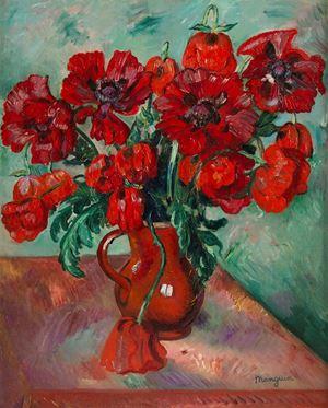 Grand vase de pavots by Henri Manguin contemporary artwork