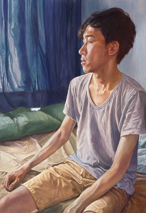 Morning-The bedroom with Navy curtain by Dongwook Suh contemporary artwork