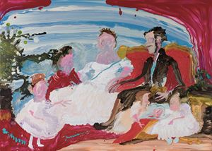 Queen and her family (after Franz Xaver Winterhalter) by Genieve Figgis contemporary artwork