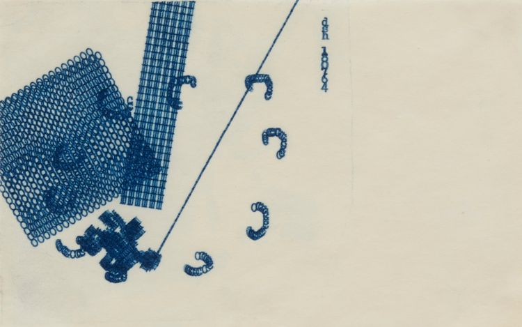 Dom Sylvester Houedard, Typestract - 180764 (Blue) (1964). Ink typed on paper. 10 x 16.5 cm. Courtesy Richard Saltoun.