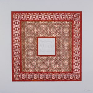 Flowers (Three Red Squares and One White) by Anila Quayyum Agha contemporary artwork