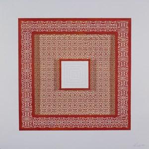 Flowers (Three Red Squares and One White) by Anila Quayyum Agha contemporary artwork