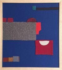 Blau, Senf, Rot und Orange formen by Julia Holderness contemporary artwork textile