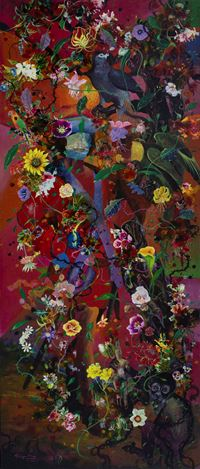 Priyantha Udagedara,Serendib 8,Mixed Media on Canvas, 183cm x 77cm. Courtesy Saskia Fernando Gallery.