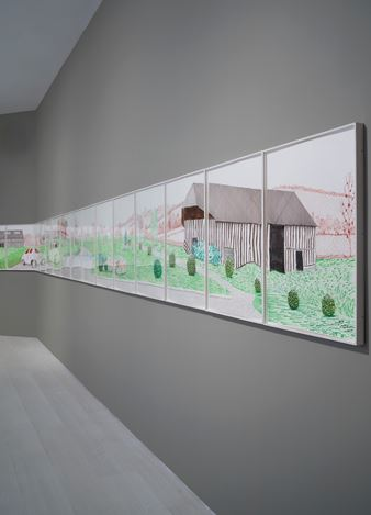 Exhibition view: David Hockney, La Grande Cour, Normandy, Pace Gallery, New York (14 September–19 October 2019). Courtesy Pace Gallery.