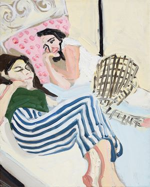 Carlotta and Esme (sleepover) by Chantal Joffe contemporary artwork