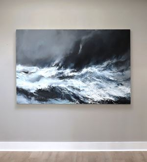 Sea state force 10 - Waves breaking on the Clett, Silwick by Janette Kerr contemporary artwork