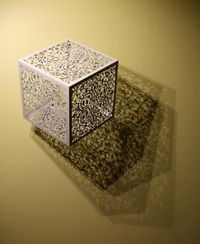 Itinerant Shadows - White (Caged Flowers) by Anila Quayyum Agha contemporary artwork sculpture