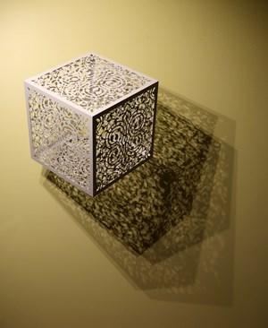 Itinerant Shadows - White (Caged Flowers) by Anila Quayyum Agha contemporary artwork