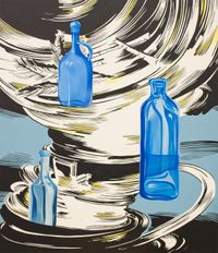 Land Poetics (Blue Bottles) by Dina Gadia contemporary artwork painting