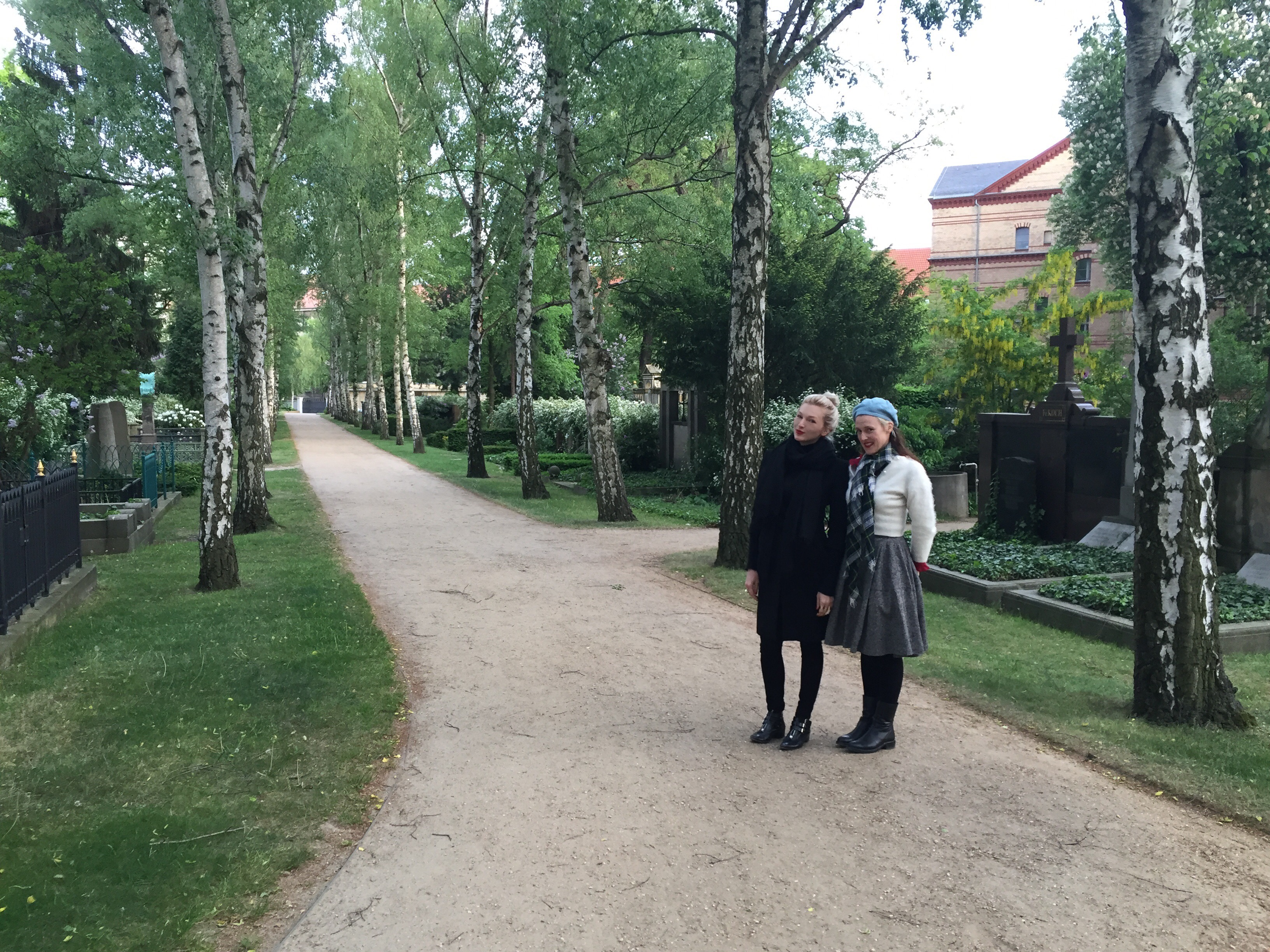 With artist Lyndal Walker in Dorotheenstadt cemetery, Mitte. Courtesy Diana d'Arenberg.