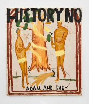 Illuminated Manuscript, Adam and Eve by Rose Wylie contemporary artwork