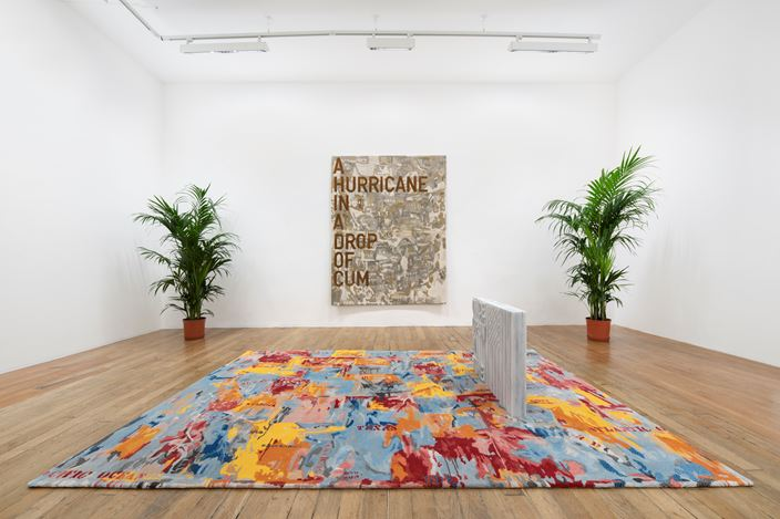 Exhibition view: Rirkrit Tiravanija, untitled 2020 (once upon a time) (after jasper johns), Galerie Chantal Crousel, Paris, France (5 September–10 October 2020). Courtesy the artist and Galerie Chantal Crousel,Paris. Photo: Martin Argyroglo.