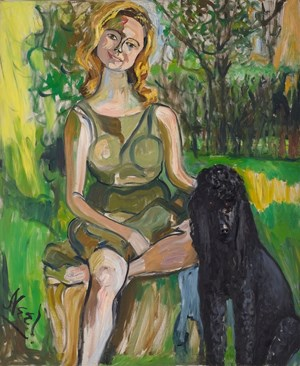 Carol with a Dog by Alice Neel contemporary artwork
