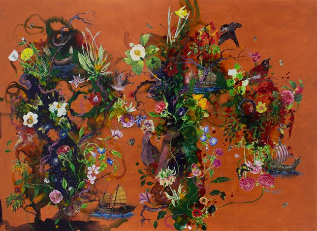 Priyantha Udagedara, Serendib 12, Mixed Media on Board, 113cm x 82cm. Courtesy Saskia Fernando Gallery.
