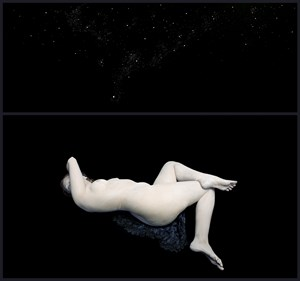 With Curves of Moon. Audrey in Cosmos I by Nadav Kander contemporary artwork