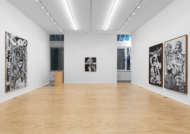 Exhibition view: Tobias Pils, 3 paintings 2 drawings 1 triptych, Eva Presenhuber, New York (11 September–24 October 2020). © Tobias Pils. Courtesy the artist and Galerie Eva Presenhuber, Zurich / New York. Photo: Matt Grubb.