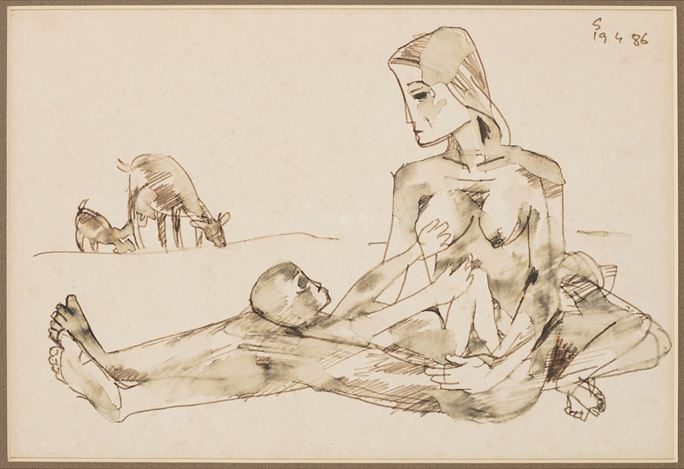 SOMNATH HORE, Mother and Child (1986). Watercolour on paper. 24 x 35 cm / 9.4 x 13.7 in. CourtesyGalerie Mirchandani + Steinruecke,Mumbai.