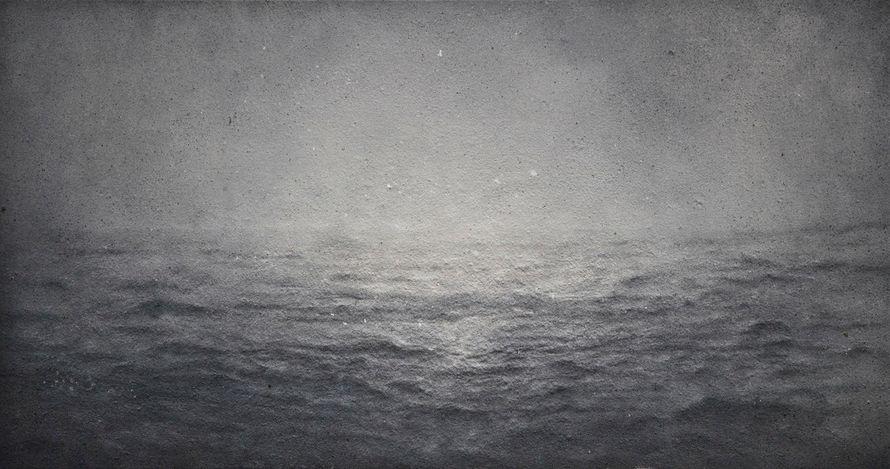 Zhang Huan,Sea No. 18 (2012). Incense ash on linen. 150 × 280 cm. © Zhang Huan. Courtesy Pace Gallery.